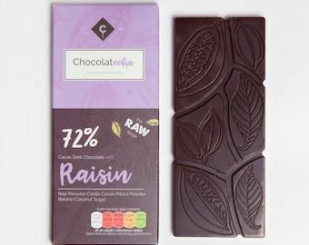 Raw Chocolate with Raisin - Vegan Chocolate - Dark Chocolate - Free from - dairy free - gluten free - Gift for her - vegan gift. Raisins