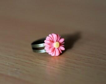 Pink Daisy Flower Adjustable Ring