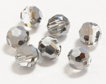 12 pc. CRYSTAL SILVER NIGHT  4mm Swarovski Faceted Round, Wholesale Swarovski Elements Item 5000, U.S.A. Seller, Fast Shipping (5000-4-csn)