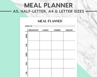 NEW! MEAL PLANNER Printable | Classic, A5, Half-Letter, A4, Letter, Meal Planning, Meal Plan, Food Plan, Food Planner