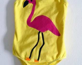 PINK FLAMINGO LEOTARD- Birthday Leotard - Gymnastics Leotard - Zoo Party -