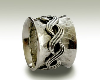 Silver wedding ring, oxidized band,eternity ring, celtic band, Celtic braided spinner, wedding band, wide band - Nothing compares R1739B