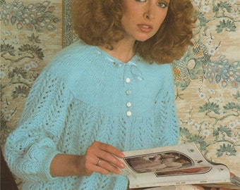 Womens Bedjacket PDF Knitting Pattern : Womens 30, 32, 34, 36 and 38 inch bust . 76, 81, 86, 91 and 97 cm . Bed Jacket . Instant Download