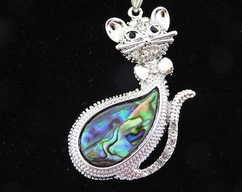 Cat pendant, abalone and silver, silver omega chain, choice of length, free shipping