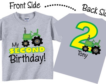 2nd Birthday Shirts with Tractor for Boys Tees