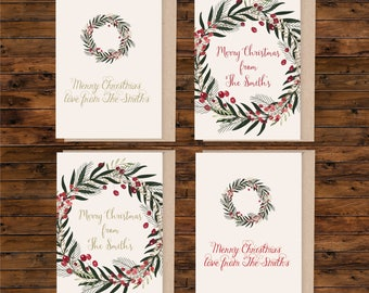 A6 personalised christmas card set, set of A6 greeting card, illustrated christmas card, blank christmas card, card and envelope
