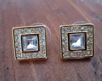 Vintage Monet Square Goldtone Rhinestone Pierced Earrings