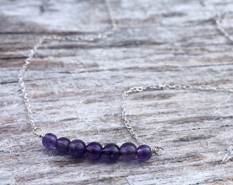 Sterling Silver Amethyst Bead Bar Necklace