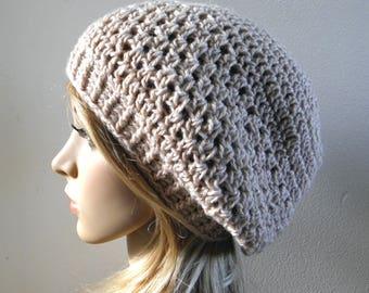 Crochet beret in sand oatmeal light beige pure wool slouchy hat women teen winter crocheted beanie READY MADE