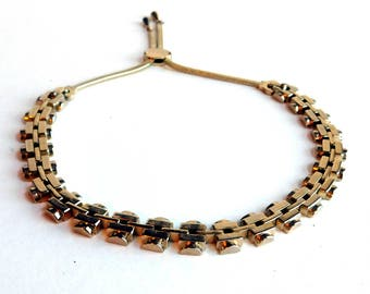 Vintage Monet Goldtone Industrial-Look Chain Necklace - Classic Mid-Century Monet Fashion Jewelry - Pre-1955 Mark - Two Foldover Clasps