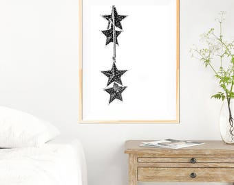 Stars Minimalist Print - Hanging Stars - Stars Print - Stars Wall Art - Stars Photography - Home Decor - Fine Art Photography - Minimalist