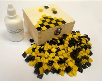 Ready to make Mosaic Box KitYellow & Black. Includes everything you need. Fun mosaic Kit for all ages