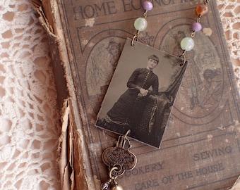 1800's Tintype, Broken Key, Beaded Necklace