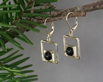 Gold square earrings, Black earrings, Gold earrings with black wood, Black gold earrings, Vermeil jewelry, Square dangle earrings, Handmade