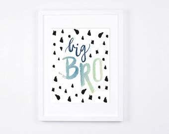 Big Brother Art Printable, Big Bro, Navy Little Boys Room Decor, Watercolor Nursery Art, Scandinavian Nursery Wall Art, Modern Kids Art