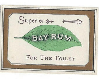 Vintage Superior Bay Rum for the Toilet Label, 1920s