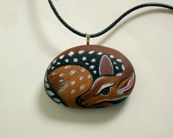 SHIPS FREE-Mothers Day gift for her under 50 stone necklace deer miniature painted pet rock ooak 3D Native American wildlife art fawn rescue