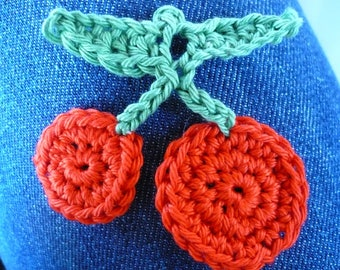 crochet cherries, made of cotton red and green