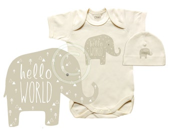 Organic baby take home outfit, newborn first outfit, onesie and hat set, HELLO WORLD, elephant design
