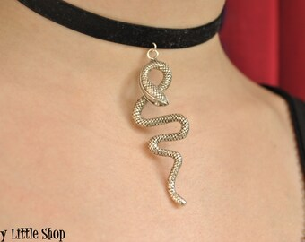 Choker ketting choker zwart fluweel, slang choker, viper choker, snake ketting, slang charme, gothic choker, slang choker, snake jewelry Snake