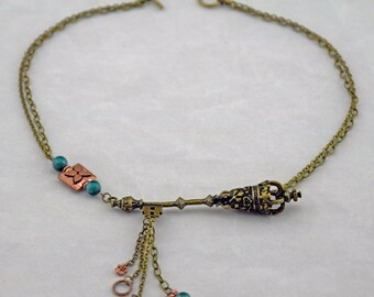 Asymmetrical Brass and Copper with Chrysocolla Necklace