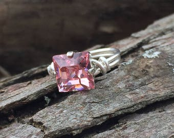 Light Pink Swarovski Crystal, Sterling Silver, 8mm Princess Cut, Wire Wrapped Ring
