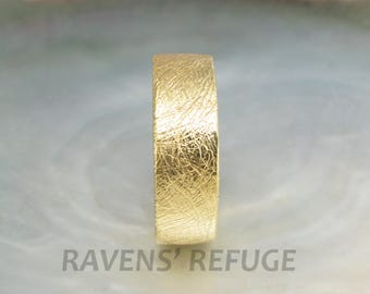 textured gold band -- thick 18k wedding band for men or women