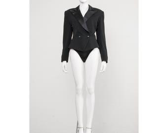 Vintage black 1980s Thierry Mugler sculptured tuxedo peplum jacket