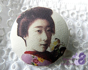 Button fabric, Japanese woman, 24 mm / 0.94 in