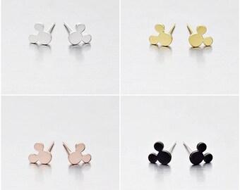 925 Sterling Silver Earrings, Rat Earrings, Gold Plated Earrings, Rose Gold Plated Earrings, Black Coated Color, Stud Earrings (Code : E24)