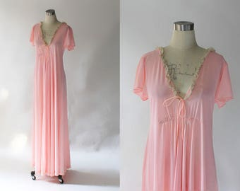 1960s Flutter Sleeve Nightgown Dress // Vintage 60s Long Low Cut Lace Trim Baby Pink Pajamas // Medium