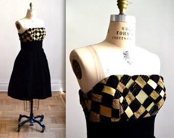 Vintage 80s Black Strapless Dress Velvet and Crinoline// 80s does 50s Prom Dress Victor Costa Size Small/Medium