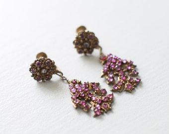Antique Chandelier Bird Earrings - NATURAL RUBY Bird Screw Backs. 18th Century Gkirandole Earrings // Fine Jewelry. Natural Rose Cut Rubies