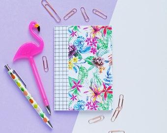 A6 White Tropical Plain Paper Notebook