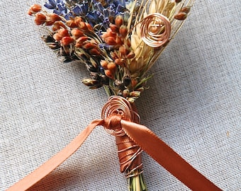 Copper and Lavender Boutonniere or Corsage with Copper Spirals wrapped with ribbon