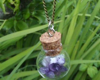 Circle bottle with tiny amethyst
