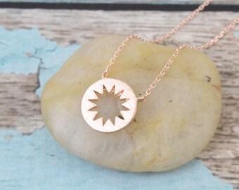 Rose Gold Starburst Pendent Necklace, Rose Gold Necklace, Starburst Necklace, Dainty Rose Gold Necklace, Dainty Necklace  -3030