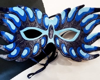 Leather Blue Dragon Mask- Made to Order