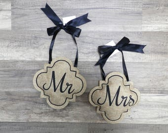 Hanging Burlap Stuffed Mr & Mrs