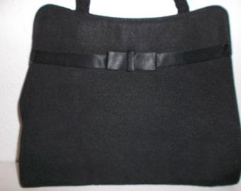 Vintage 1940s 1950s Black Silk and Taffeta Handbag Mad Men Style Purse
