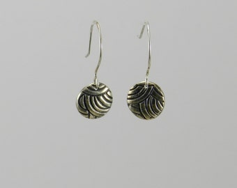 Earrings Fine Silver Precious Metal Clay Concentric Circles Pattern
