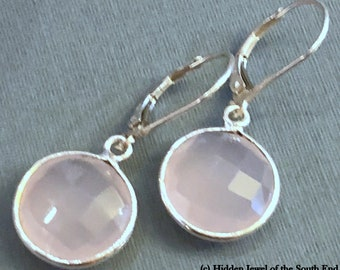 Faceted  Pink Chalcedony  circle Bezel Set Earrings with sterling silver lever back ear wires , pink earrings, healing stone, (E126)