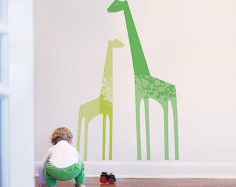 Nursery Wall Decal Giraffe Wall Decal Green Baby Wall Decal Baby Room Decor Kids Wall Decal. Giraffes Children Wall Decal
