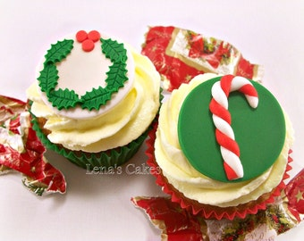 Christmas Cupcake Fondant Edible Toppers, Xmas Party Decor, Wreath Candy Cane Edible Toppers, Holiday Edible Decorations - set 12