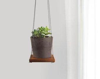 Rustic Cedar Plant Holder, Swing Shelf, Floating Shelving | Reclaimed Wood and Black Hanger | Hanging Succulent Wall Planter | Unique Gift