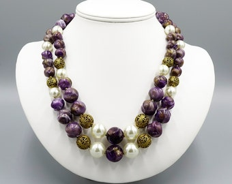 Vintage Purple Swirl Pearl And Gold Filigree Beaded Necklace By Lisner