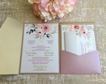 Customizable Dusty Pink n Gold Bilingual (Vietnamese /English) Pocketfold Invitation  (print return address included)