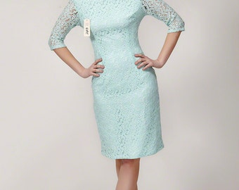 Light Blue Lace Dress with Deep V Back - White Lace Sheath Dress - White Lace Dress - V Back Lace Sheath Dress in Custom Colors - B243