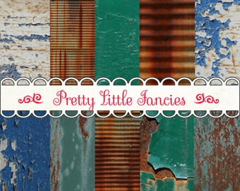 Digital Rustic Metal Backgrounds 12x12 Scrapbook Paper Pack Shabby Chipped Paint