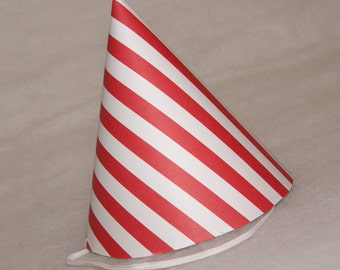 Simple Birthday Party Hat - Red Stripe